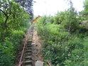 Schody k lávce přes Tichou Orlici v Mladkově na jejím pravém břehu.