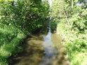 Tichá Orlice přitéká k silničnímu mostu nedaleko obce Dolní Lipka.