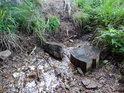 Tichá Orlice protéká ve svých prvních metrech mezi kamenem a špalkem.